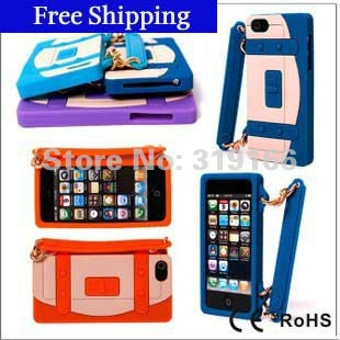 Wholesale - fashion Lady Handbag Gel Soft Silicone case Cover Skin For iPhone 5 5G , with Wristlet Chain , Free Shipping 50pcs
