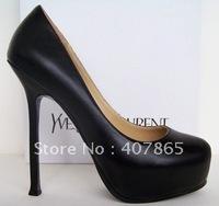 Sexy high-heeled shoes genuine leather black color sheepskin women's shoes platform single shoes 14cm