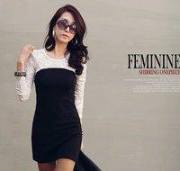 Korea  stely self Hin thin fashion-style lace dress woman free shipping
