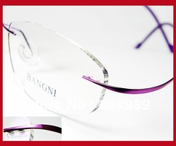 LADIES WOMEN RIMLESS 100% BETA TITANIUM OPTICAL PRESCRIPTION EYEGLASS FRAMES EYEWEAR SPECTACLES BRAND NEW PURPLE NO SCREW DESIGN(China (Mainland))