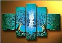 hand-painted oil wall art Blue tree human body home decoration Landscape oil painting on canvas 5pcs/set Match framework DY-027