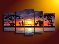 hand-painted wall art African elephants deer Home Decoration Modern Landscape Oil Painting on canvas Match framework DY-032