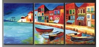 hand-painted oil wall art Beach villa sailing home decoration Landscape oil painting on canvas 3pcs/set Match framework DY-031