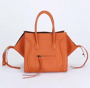 Top quality phantom bat real calf leather orange women's ambre tote handbag shoulder bag fashion gift free shipping wholesale