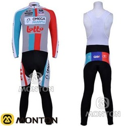 Free Shipping Men&#39;s Outdoor sport dress,Winer Fleece Long Sleeve Cycling Jersey LOTTO BELGIUM bike/riding suits+ BIB Pants s151(China (Mainland))