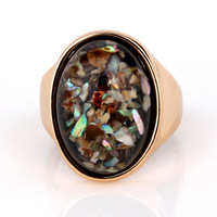 Fashion fashion vintage gem ring crystal oval shell ring female