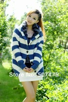 The Large Size Autumn and Winter Women's Loose Cardigan Striped Hooded Thick Full Sleeve Short Sweater Cardigan