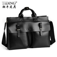 Cattle fashion vintage bag genuine leather cowhide briefcase one shoulder cross-body handbag commercial man bag 9685