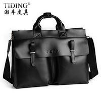 Cattle fashion vintage bag genuine leather cowhide briefcase one shoulder cross-body handbag commercial man bag 9685