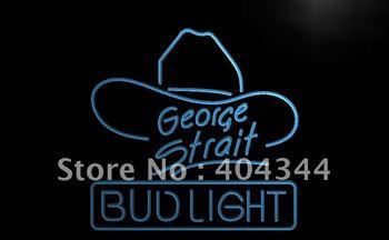 LE116- Bud Light George Strait Bar Pub Neon Light Sign  hang sign home decor shop crafts led sign