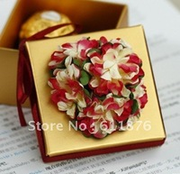 candy box , golden gift box with flower decoration, JF08 , gift package, wedding favors, free shipping