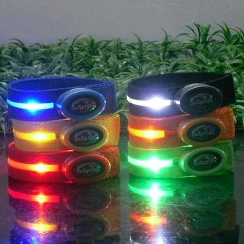 Free shipping hot sale novelty led luminous arm belt diy gift flash armband oval switch