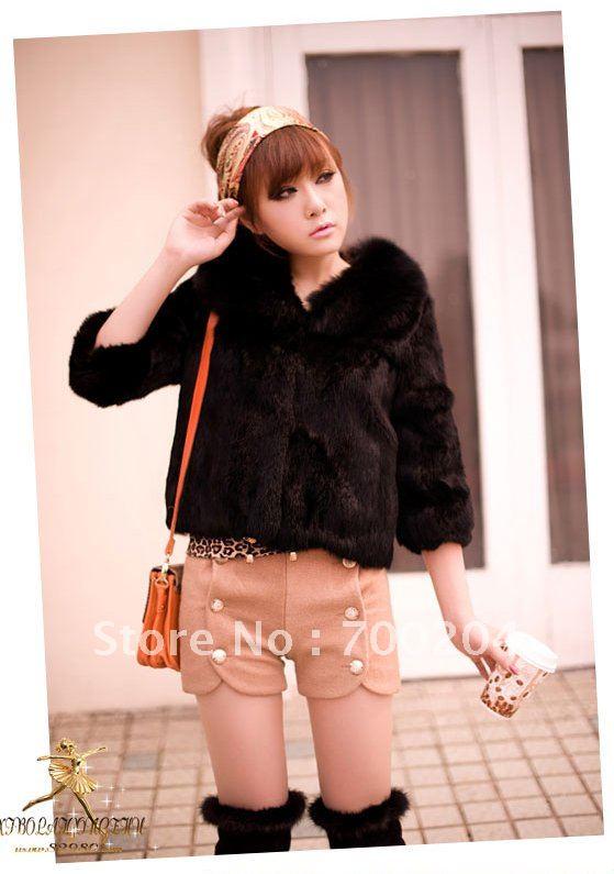 Free Shipping Women's Rabbit Fur Coats Rabbit Fur Jacket Rabbit Fur Garment & Fox Fur Collar Black G16(China (Mainland))