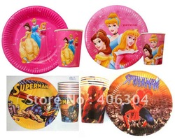 Free shipping,princess,mickey,dora,spiderman,Thomas kids/children's birthday party,cartoon Disposable paper cup plate,dishware(China (Mainland))