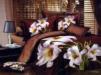 New Beautiful 4PC 100% Cotton Comforter Duvet Doona Cover Sets FULL / QUEEN / KING SIZE bedding set 4pcs brown flowers WZP-0268