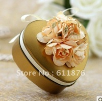 candy box , golden heart gift box with artificial flower decoration, T13, tin box gift package, wedding favors, free shipping