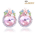 Fashion Pink rhinestone earrings noble girls accessories Korea style stud earring hot sale(Mix Order)