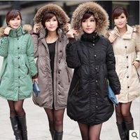 SALE! Fashion Womens Hooded Fur Collar Winter Long Down Coat Parka Jacket Detacheable Hat Plus Size Black Green Khaki Beige