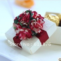 candy box , white gift box with artificial flower ribbon decoration, SR36, gift package, wedding favors, free shipping