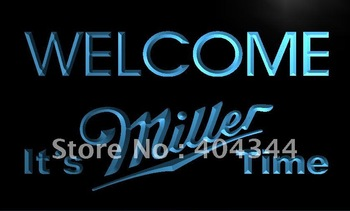 LE206- It's Miller Time Welcome Bar Neon Light Sign  hang sign home decor shop crafts led sign