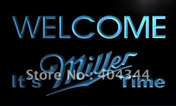 LE206- It's Miller Time Welcome Bar Neon Light Sign   home decor shop crafts led sign
