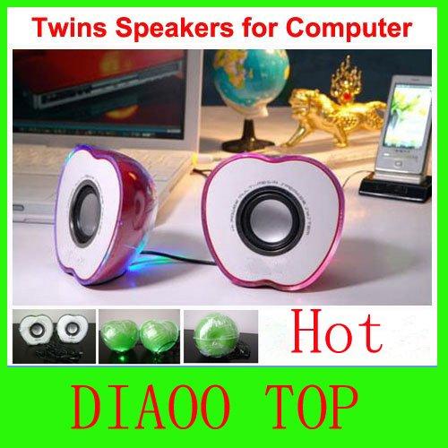 Mini Speaker for Computer Laptops PC Apple Shaped HiFi Power Multimedia Speaker System Free Shipping(China (Mainland))