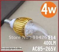 Hot sale E14 E27 base type 4W warm / cold white LED candle bulb lights lamp free shipping CE Rohs