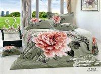 New Beautiful 4PC 100% Cotton Comforter Duvet Doona Cover Sets FULL / QUEEN / KING SIZE bedding set 4pcs green big pink flower