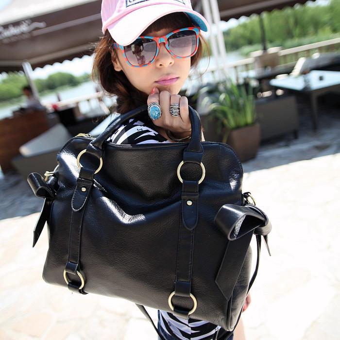 2012 spring women's handbag bow black vintage shoulder bag fashion messenger bag(China (Mainland))