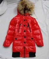 Child down coat female child red medium-long white duck down coat