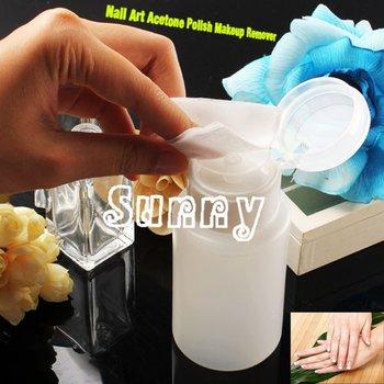 2 x Nail Art Pump Dispenser Polish Remover Cleaner Empty Bottle Makeup Plastic