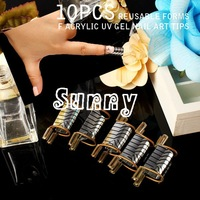 10PCS REUSABLE FORMS F ACRYLIC UV GEL NAIL ART TIPS EXTENSION PRO SALON HOME USE