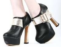 2012 New Arrival metal clasp shoes waterproof deep mouth shoes high heels for women FREE SHIPPING D6442