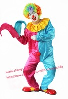 Red Blue Design The Clown Costume Halloween Carnival Adult Size Free Shipping 1 set