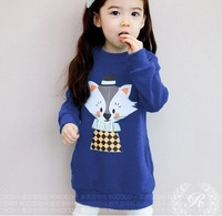 wholesale 5pcs/lot cute 2012 fox design girl long sweater for autumn or spring