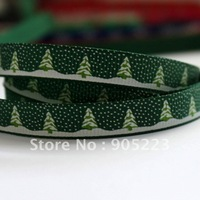 "Free shipping 50Yd 3/8""  Green  Christmas  Tree Grosgrain Ribbon Green  new wholesale /retail"
