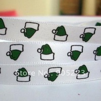"Free shipping  50Yd 3/8""  Green  Christmas   Cap Satin Ribbon   new wholesale /retail"