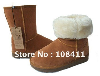 Free shipping wholesale women's classic sheepskin snow boots genuine leather with logo