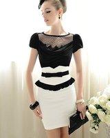 New 2014 Summer Slim Fit Bow Falbala Ruffles High Waist White Black Pencil Skirts Womens