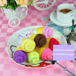 Free shipping(20pcs/lot), Pure cotton cake towels, Ice cream towels, Novelty gift, Lovely ice cream cone towel ,LG003(China (Mainland))