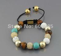 Браслет из бисера christmas Shamballa handmade jewelry, New Shamballa Bracelet CZ Micro Pave crystal Disco Ball Bead NYB224