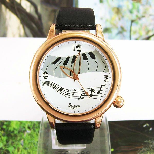 Popular Wonderful Piano Music Notes symbol watch 3 Colors Analog Wrist Leather Strap Watch Classic Ladies Women Dress Watch M666(China (Mainland))