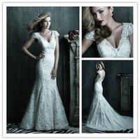 Vintage v neck floor length backless lace victorian wedding dresses 2012