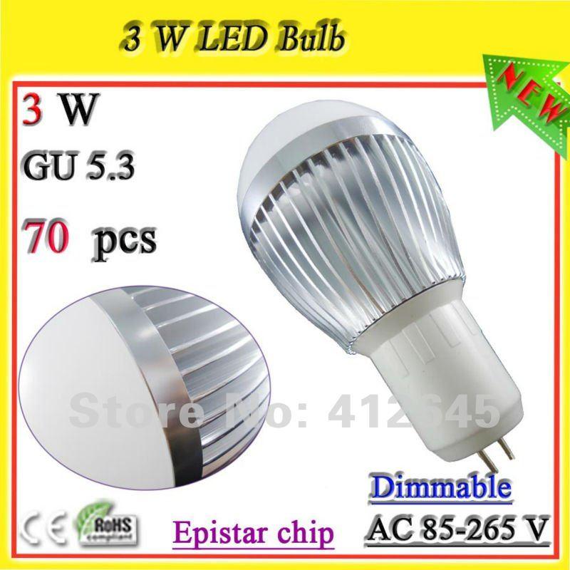 high intensity 3*1 watt led bulb_free shipping GU5.3 led ball bulb for