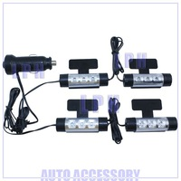 4x 3LED Car Interior Light Charge 12V Glow blue Decorative 4in1 Atmosphere Lamp Free Shipping LP13038