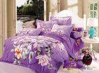 home textile hot selling orange yellow floral purple duvet quilt covers sets 4pc Full/Queen/King comforter bedding sets bedlinen