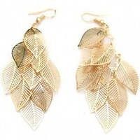 Sunshine jewelry store fashion hollow out multi-layer leaves earrings E061 ( $10 free shipping )