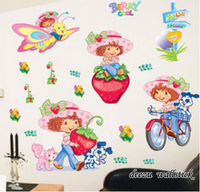Strawberry girl in the second generation wall stickers child real cartoon background wallpaper Large