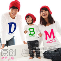 Free Shipping ! Clothes For a Family Of Three Pieces Long-sleeve T-shirt Letter Plus,$37.46=Three pieces T-shirts(Dad+Mom+Baby)
