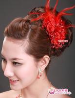 Colour bride beads pollist flowers red hair accessory feather hair accessory marriage accessories multicolor